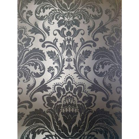 Holden Decor Finley Damask Black Wallpaper