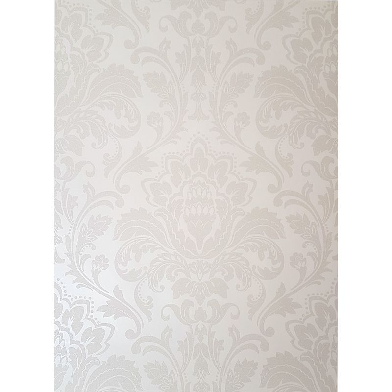 Image of Cream Damask Glitter Wallpaper Retro Textured Shimmer Holden Decor Feature