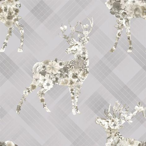 Holden Decor Floral Elk Grey Beige Wallpaper