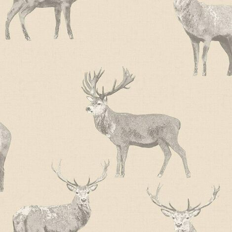 Holden Decor - Galloway Linen Stag Deer Animal Country Wallpaper - Cream 12801