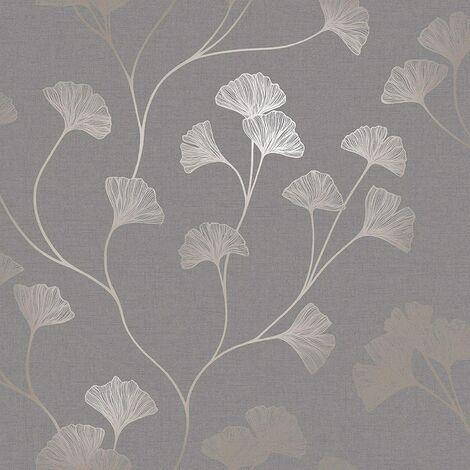 Holden Decor Ginkgo Grey/Rose Gold Metallic Wallpaper - 12702