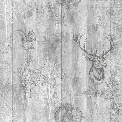 Holden Decor Glasshouse silver paper Quality wallpaper, Vinyl smooth finish,Paper finish,Easy to hang (Grey)