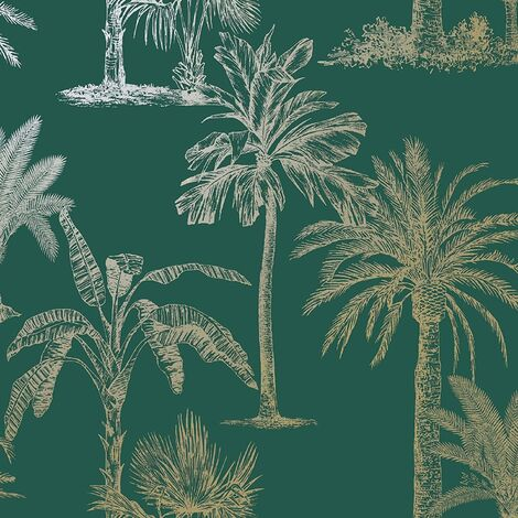 Holden Decor Glistening Tropical Tree Exotic Jungle Palm Wallpaper - Teal 12820