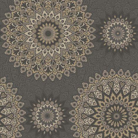 Holden Decor Glitter Medllion Black/ Gold Wallpaper