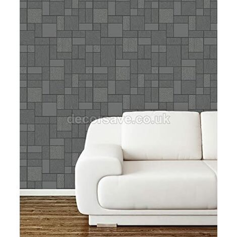 Holden Decor Glitter Tile Black Grey Silver Glittery Washable Wallpaper 89240