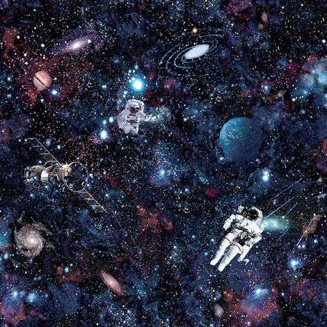 Holden Decor Intergalactic Stars Black Multi Wallpaper