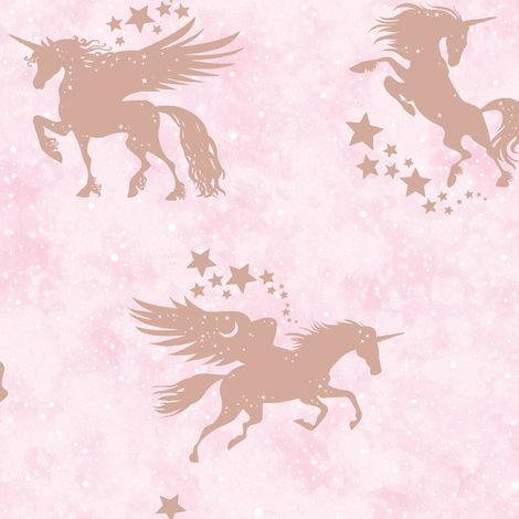 Holden Decor Iridescent Unicorns Pink/ Rose Gold Wallpaper