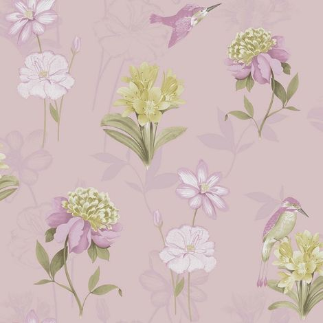 Holden Decor K2 Kingfisher Dusty Pink Wallpaper