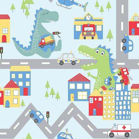 Holden Decor Kids Dinosaur Road Cars Nursery Wallpaper - Blue / Multi 90911