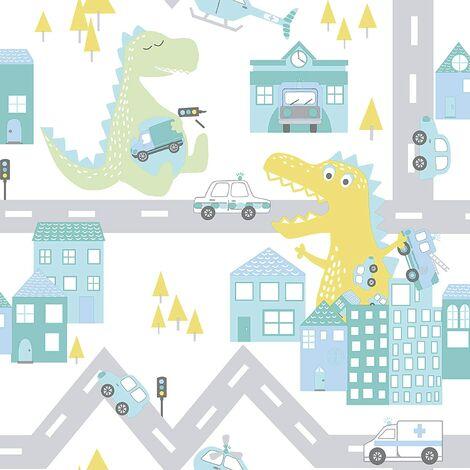 Holden Decor Kids Dinosaur Road Cars Nursery Wallpaper - Teal / Lime 90912
