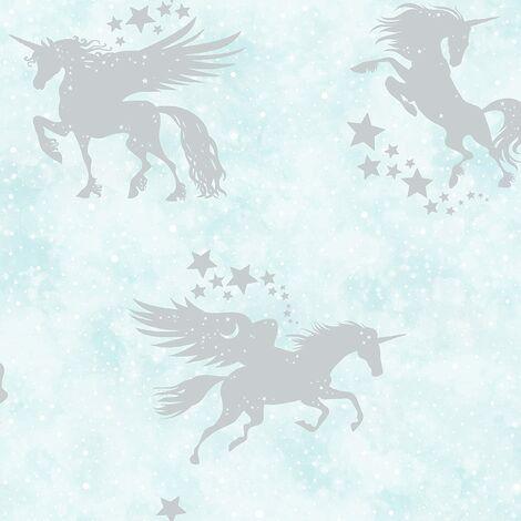 Holden Decor Kids Iridescent Unicorns Stars Metallic Wallpaper Teal/Silver 90950