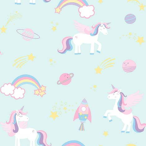 Holden Decor Kids Unicorns Rockets and Rainbows Wallpaper - Teal 90962