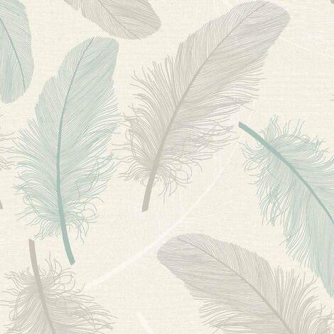Holden Decor - Maisey Textured Vinyl Feather Leaf Pattern Wallpaper -Teal 75761