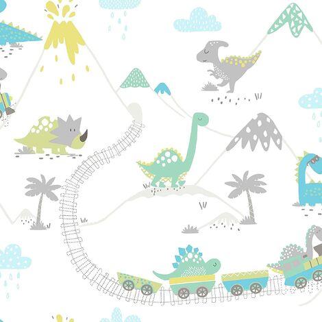Holden Decor Make Believe Dino Town Grey Teal Wallpaper 12531 - Kids Childrens