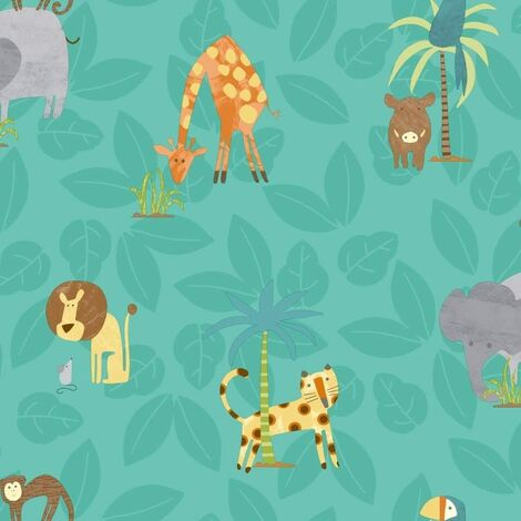 Holden Decor Make Believe Jungle Friends Teal Wallpaper 12542 - Kids Childrens
