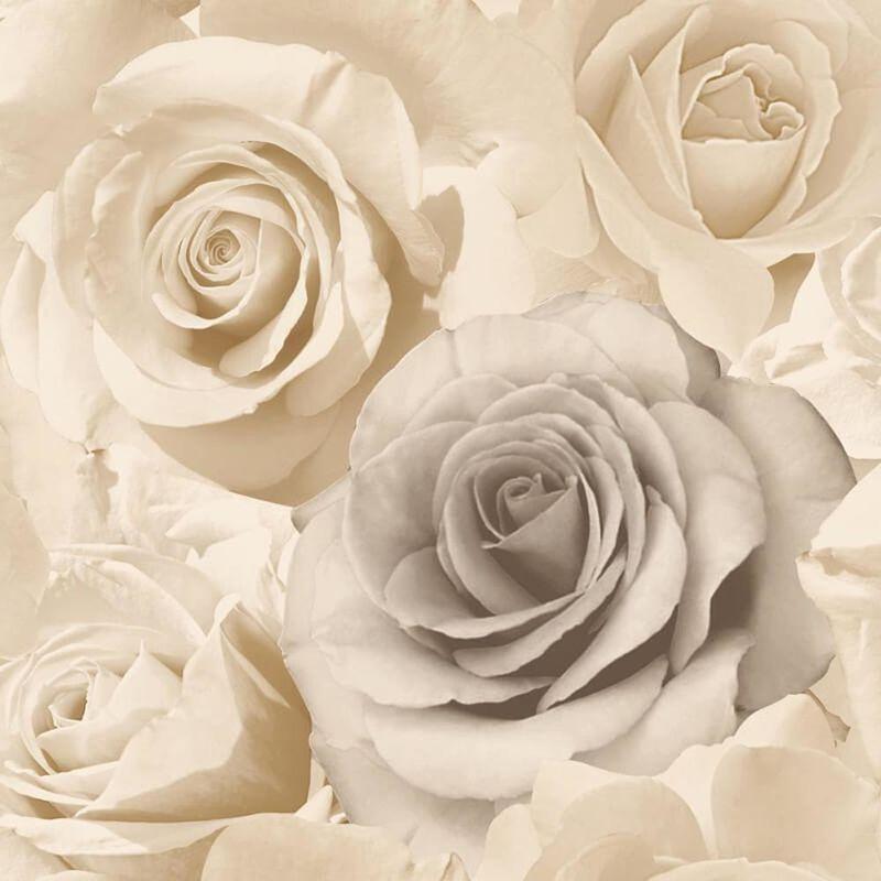 Image of Madison Rose Floral Beige Wallpaper Cream Natural Flowers Petals Bloom - Muriva