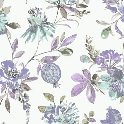 Holden Decor - Melgrano Floral Metallic Luxury Wallpaper - Heather 90523