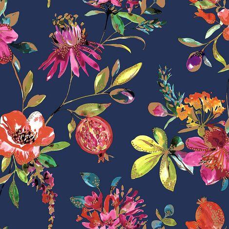 Holden Decor - Melgrano Floral Metallic Luxury Wallpaper - Navy 90521