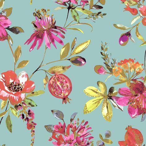 Holden Decor - Melgrano Floral Metallic Luxury Wallpaper - Soft Teal 90520