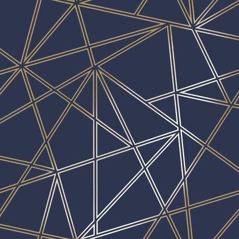 Holden Decor - Paladium Geometric Metallic Apex Wallpaper - Navy / Gold - 90112