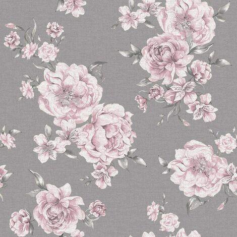 Holden Decor - Peony Floral Leaf Roses Wallpaper - Pink / Dark Grey 12830