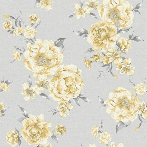 Holden Decor - Peony Floral Leaf Roses Wallpaper - Yellow / Light Grey 12831