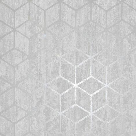 Holden Decor - Rochester Stone Cube Geo Effect Metallic Wallpaper - Silver 65200