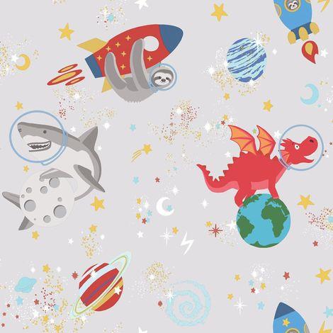 Holden Decor Space Animals Grey Wallpaper