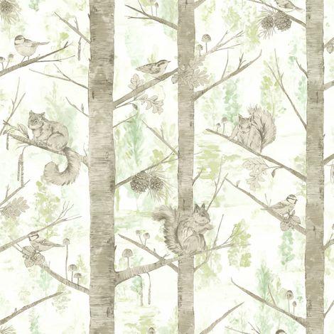 Holden Decor Squirrel Trees Green Wallpaper