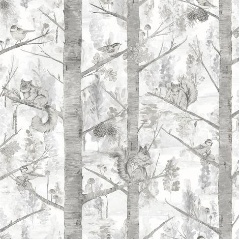 Holden Decor Squirrel Trees Grey Wallpaper