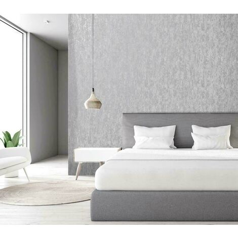 Holden Decor Statement Industrial Texture Grey Metallic Silver Wallpaper 12840