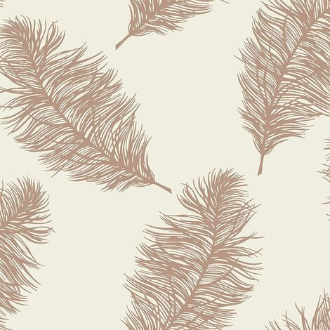 Holden Decor Statement Wallpaper Fawning Feather Cream/Rose Gold 12627 Full Roll