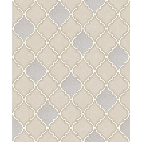 Holden Decor Tiling On A Roll Wallpaper Trellis Stone 89310