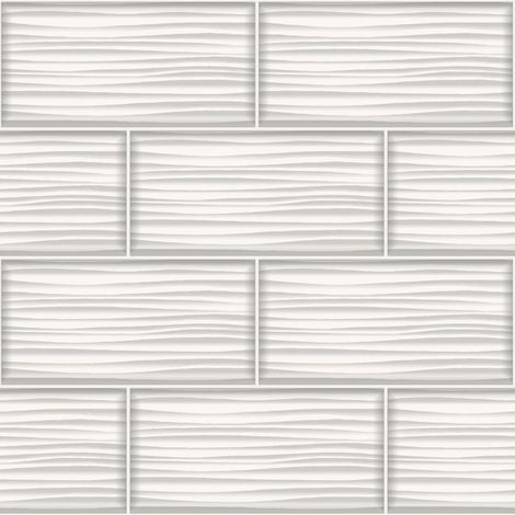 Holden Decor Tiling On A Roll Wallpaper Wave White 89320