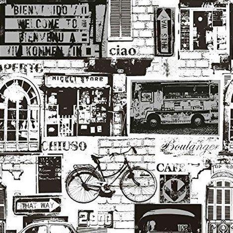 Holden Decor Urban Sights Black White Silver Metallic Wallpaper Brick Car Bike