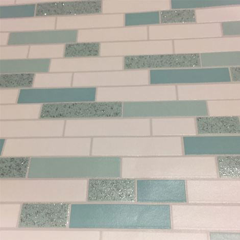Brick Effect Wallpaper Tiles Granite Oblong Glitter Shiny White Teal Silver