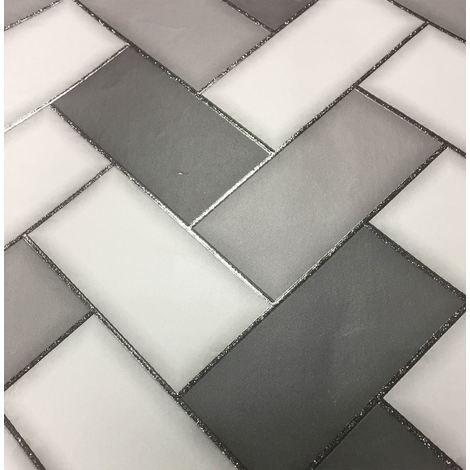 Holden Decor Wallpaper Tiling Chevron Charcoal 89302