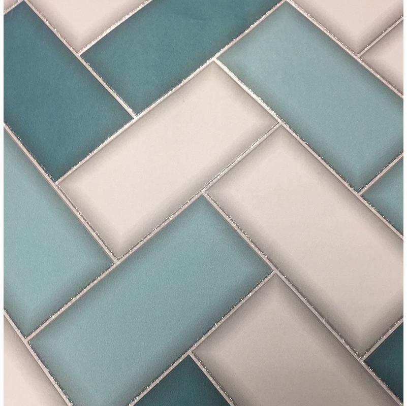 Image of 3D Chevron Tile Wallpaper Geometric Glitter Sparkle Teal Grey - Holden Decor