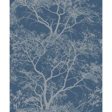 Holden Decor Whispering Trees Dark Blue Wallpaper 65402 - Textured Glitter