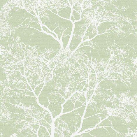 Holden Decor - Whispering Trees Sparkle Forest Glitter Wallpaper - Green 65620