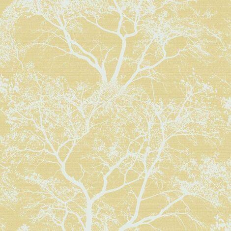 Holden Decor - Whispering Trees Sparkle Forest Glitter Wallpaper - Yellow 65621
