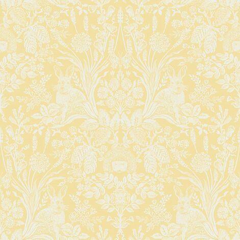 Holden Decor Whitcliffe Harlen Woodland Animals Flowers Wallpaper - Yellow 90806