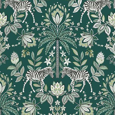 Holden Decor - Zebra Safari Floral Leaf Palm Motif Wallpaper - Teal 91203
