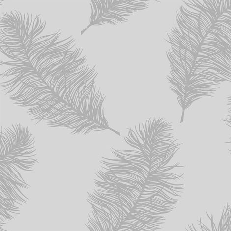 Holden Fawning Feather Grey/ Silver Wallpaper