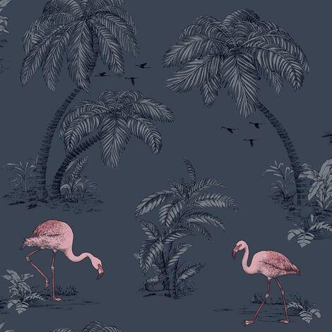 Holden Flamingo Lake Palm Trees Wallpaper - Midnight Blue / Pink - 12382