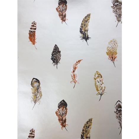 Holden Liatris Burnt Orange Feather Wallpaper