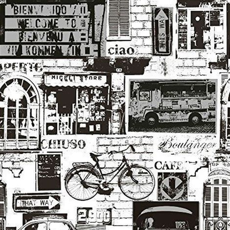 Holden Urban Sights Black/ White Wallpaper