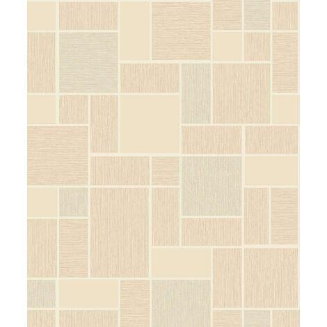 Holden Wallpaper - Beige & White / Silver Glitter Tiles - Tiling On A Roll 89242
