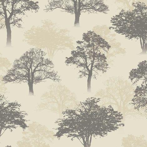 Holden Wallpaper Glitter Woodland Charcoal Beige