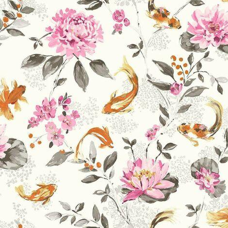 Holden Wallpaper Koi White Pink 98681
